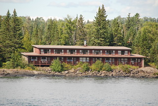 The Rock Harbor Lodge, as we are departing from Rock Harbor, Isle Royale National Park