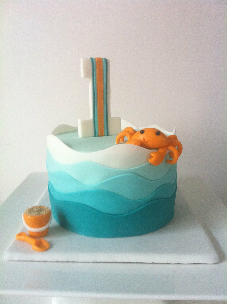 Simple Birthday Cakes Blue Waves