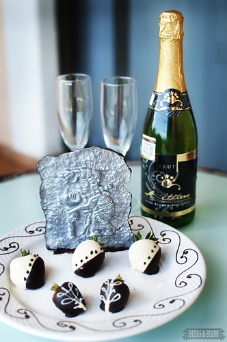 Dark chocolate sculpture & champagne at Barcelo resort in Riviera Maya
