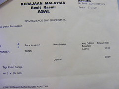 Receipt to Taman Cahaya