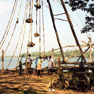 working the fishing nets