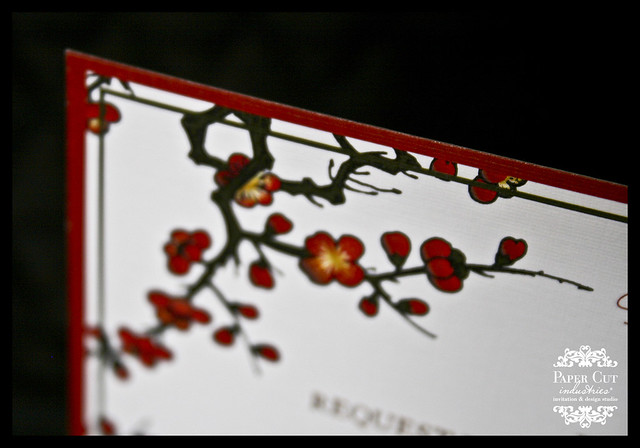 Red & Gold Plum Blossom Invitation by Paper Cut Industries