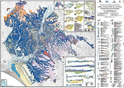 Roma - Carta Geologica del Comune di Roma / Geological Map of the Municipality of Roma (scala /scale 1:50000). Coordinamento scientifico: R. Funiciello, G. Giordano, M. Mattei. Stampa / Printed 2008. [PDF pp. 1-2 (25.6 MB)]