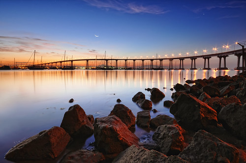 california morning bridge reflection water marina sunrise lights bay coast rocks boulders pacificocean coronado ls tildlandsparksandiego