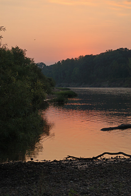 Sunrise over the Meramec River, at Shaw Nature Reserve, in Gray Summit, Missouri, USA