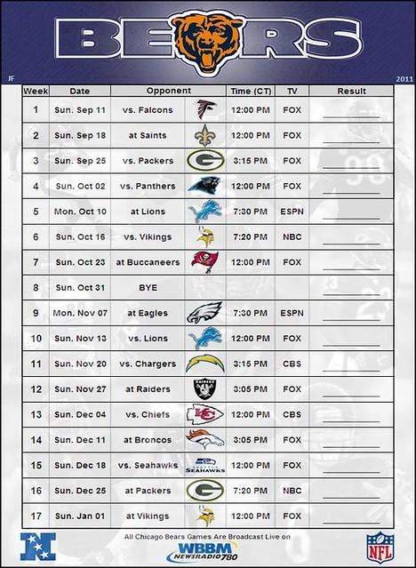 Chicago Bears 2012 Schedule