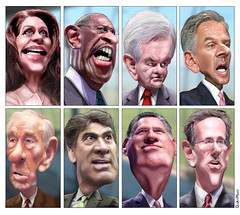 Caricatures: GOP Presidential Debate Participants September 2011