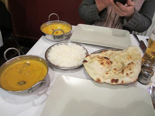 Eating Indian food on Brick Lane