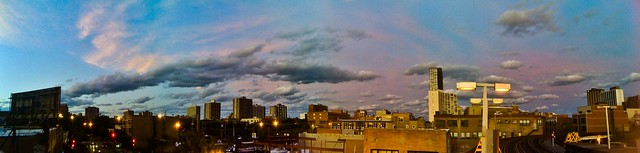 Pano sunset at Sheridan red line CTA