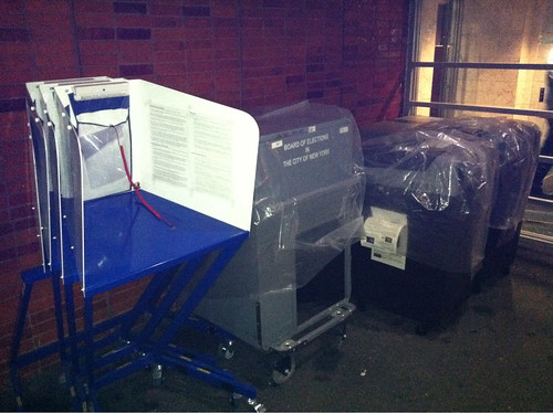 NYC voting machines outside, unattended