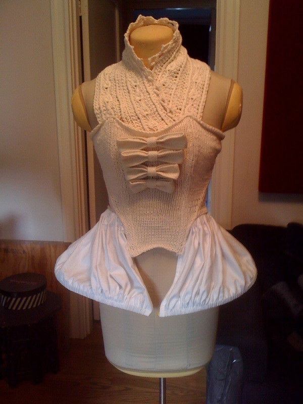Knitted 18th century bodice with panniers