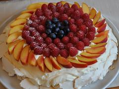 strawberry pie(0.0), plant(0.0), produce(0.0), torte(0.0), pavlova(1.0), cake(1.0), buttercream(1.0), sweetness(1.0), baked goods(1.0), whipped cream(1.0), frutti di bosco(1.0), fruit cake(1.0), fruit(1.0), food(1.0), icing(1.0), dish(1.0), dessert(1.0),