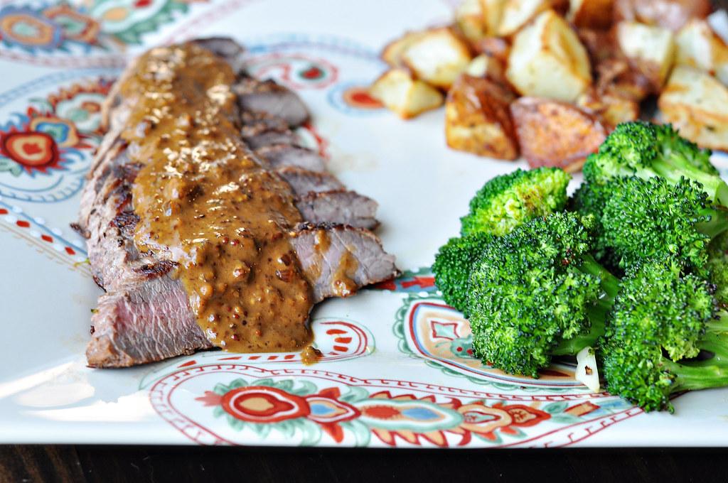 Pan Seared Steak with Mustard Cream Sauce