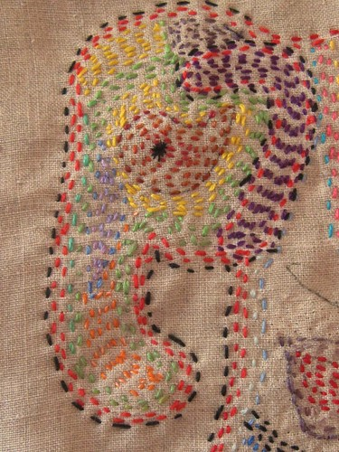 Running stitch embroidery of an elephant