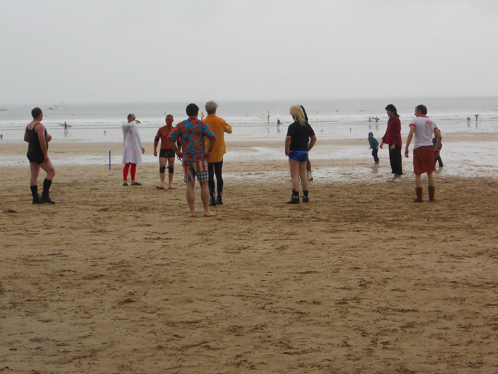 Wrestlers on Newquay Beach