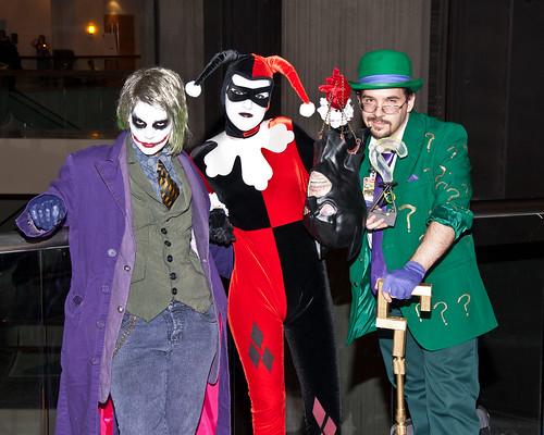 Joker, Harley, and Riddler