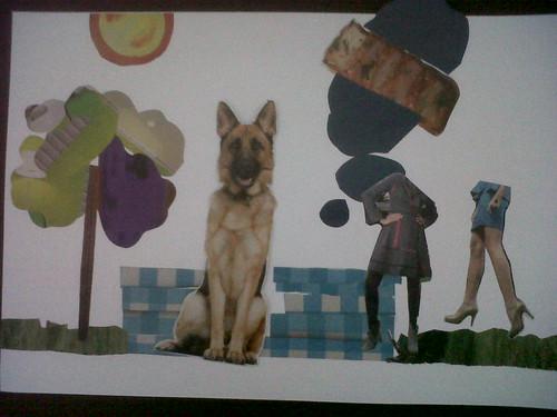 El perro en un picnic en la ciudad.