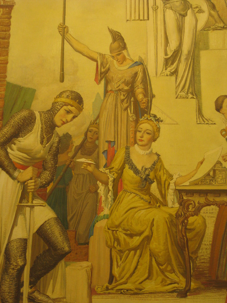 "Detail of Napier Waller's Mural ""Pageant of Women Famous in History"" - Myer Emporium Mural Hall, Bourke Street, Melbourne"
