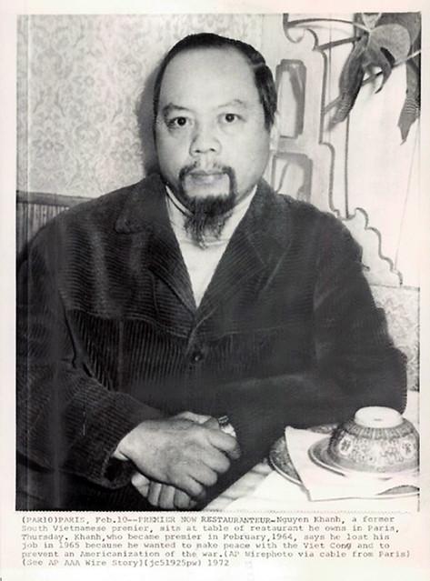 Former South Vietnam Premier Maj. Gen. Nguyen Khanh, now a restaurateur in Paris. Dated February 10, 1972
