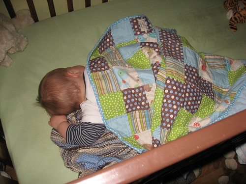 Baby Jack sleeping with this birthday quilt xo