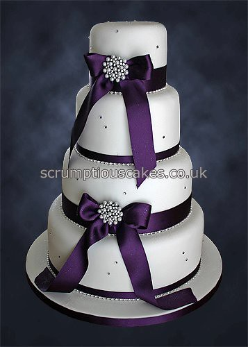 Wedding Cake 769 Purple Ribbon and Pearl Brooches