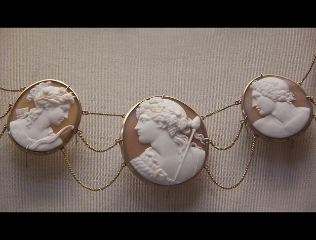 Part of six cameo heads, Diana, Bacchus, Pollux