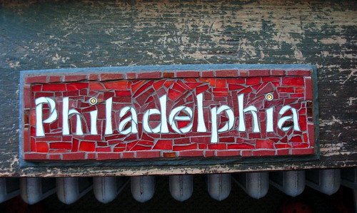 Philadelphia Mosaic Sign on Slate by Nutmeg Designs