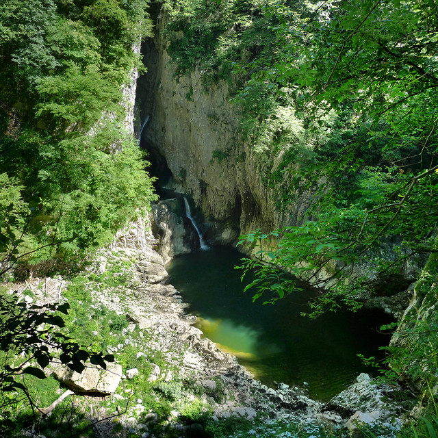 The Reka river before plunging into the underground canyon