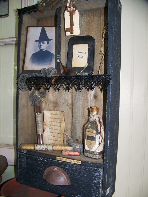 Antique altered halloween assemblage shadowbox lots of for Antique halloween decoration