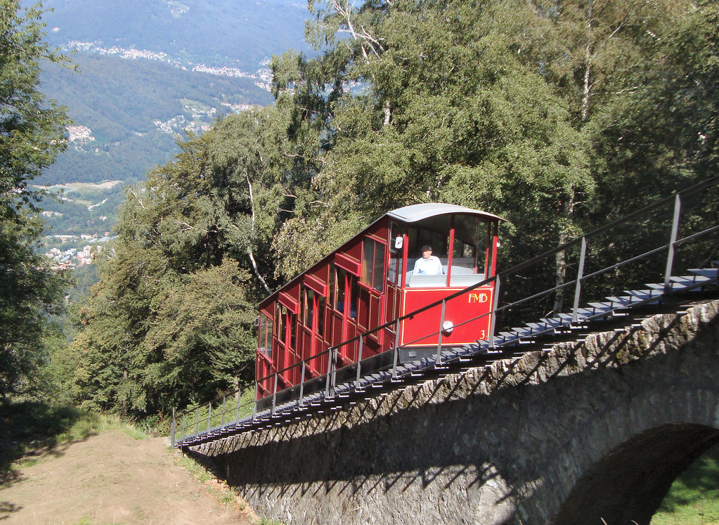 Monte Brè funicular approaching the summit. 12 September 2011