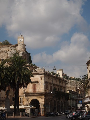 Modica with castle clock in background