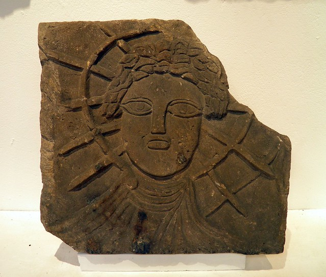 Relief of Sol (the Sun) from the temple of Jupiter Dolichenus found reused in the floor of the east Granary, Corbridge Museum