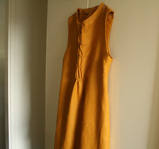 woffle dress . burnt saffron