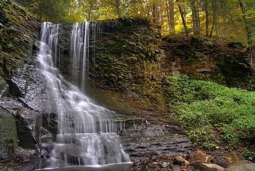 ny fall waterfall stream hiking upstate glen waterfalls gorge hiker fingerlakes gully bucktailfalls