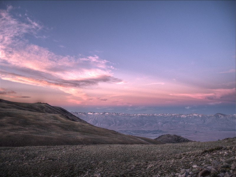 HDR shot of the sunrise over the eastern Sierra Nevada