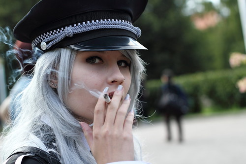 girl canon 50mm uniform cosplay cigarette military smoke makeup smoking ef50mmf18ii grayhair 550d tracon