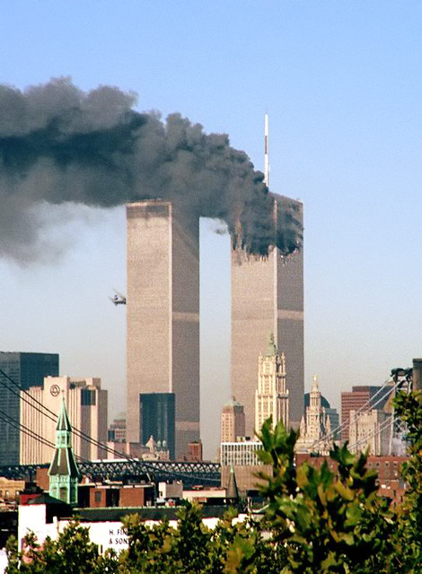 Hijacked jet approaches South Tower of World Trade Center, by Moshe Bursuker