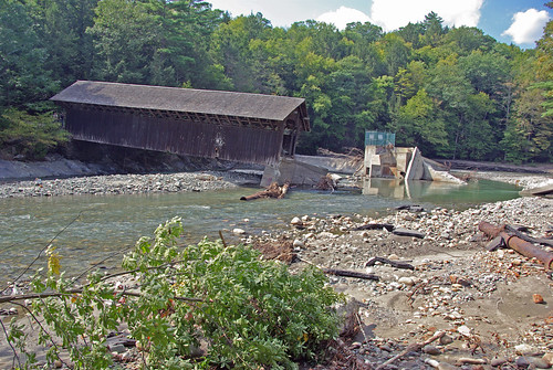 View from East Side to Hurricane Damaged Eunice Williams Covered Bridge