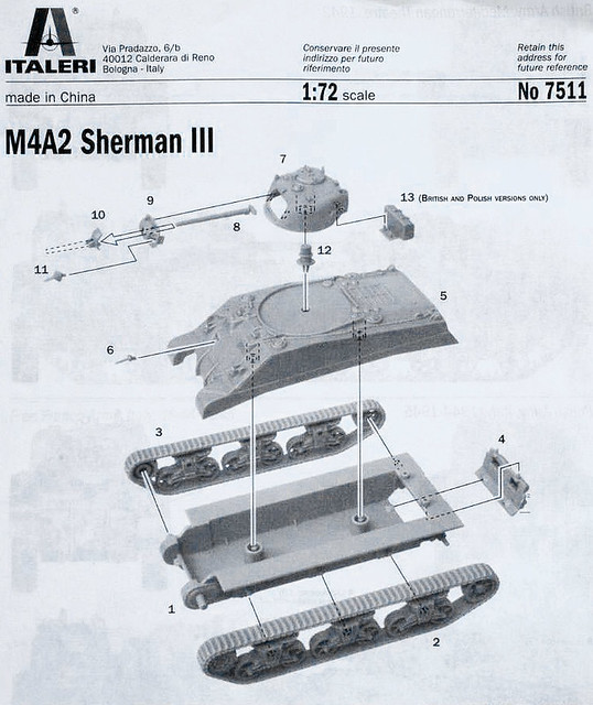 Italeri 1:72 Sherman III (M4A2) model