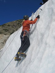 skiing(0.0), ski touring(0.0), sport climbing(0.0), downhill(0.0), nordic skiing(0.0), adventure(1.0), winter sport(1.0), sports(1.0), recreation(1.0), outdoor recreation(1.0), mountaineering(1.0), extreme sport(1.0), ice climbing(1.0), climbing(1.0),