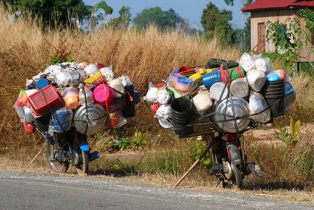 Fully loaded motorbikes in Cambodia.