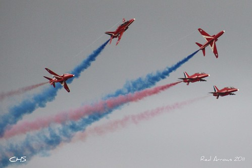 RAF Red Arrows over Fowey Regatta, 18th August 2011 by Stocker Images