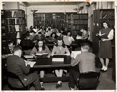 November 1945: Roosevelt students studying in the library [in the Wells Street building].
