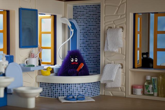 Grimace enjoys a weekend getaway at his Malibu beach house...