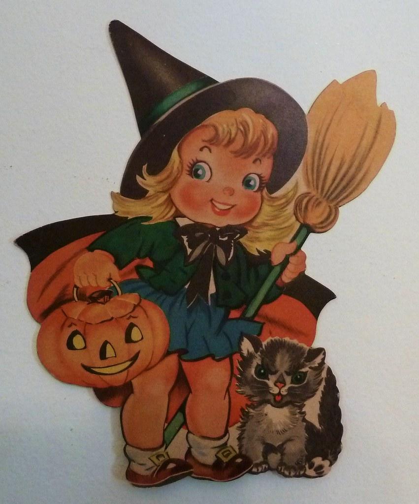 Vintage Dennison Halloween Witch Die Cut