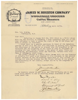 Letter from James W. Houston and Others Supporting Child Labor Bill for District of Columbia, 04/14/1908