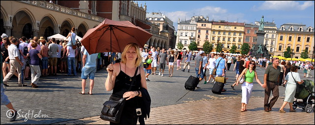 Kraków Poland - My wife with the reamains of the Bergen Multi-Use