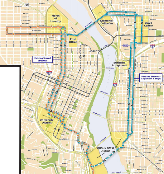 Eastside Loop Map Map By Portland Streetcar Inc By