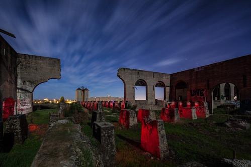 california longexposure sunset lightpainting abandoned night buildings graffiti ruins industrial factory decay cement silo startrails americancanyon
