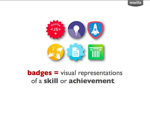 Badges=visual representations of a skill or achievement